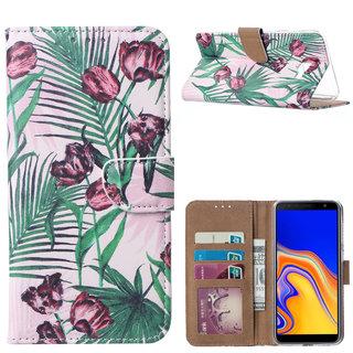 Botanische Rozen print lederen Bookcase hoesje voor de Samsung Galaxy J4 Plus 2018