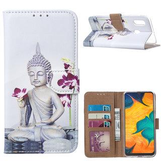 Buddha print lederen Bookcase hoesje voor de Samsung Galaxy A30 - Wit