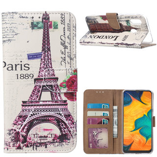 Parijs print lederen Bookcase hoesje voor de Samsung Galaxy A30 - Wit