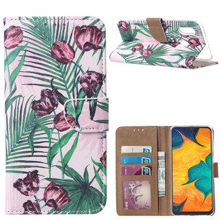 Botanische Rozen print lederen Bookcase hoesje voor de Samsung Galaxy A30