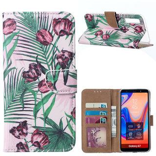 Botanische Rozen print lederen Bookcase hoesje voor de Samsung Galaxy A7 2018