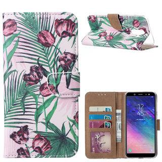 Botanische Rozen print lederen Bookcase hoesje voor de Samsung Galaxy A6 Plus 2018