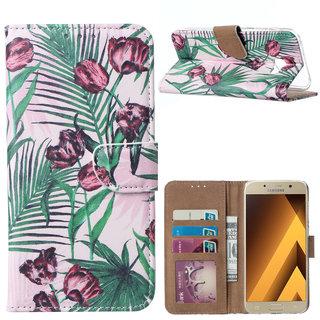 Botanische Rozen print lederen Bookcase hoesje voor de Samsung Galaxy A5 2017