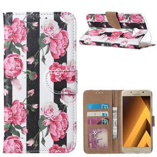 Gestreepte Rozen print lederen Bookcase hoesje voor de Samsung Galaxy A5 2017