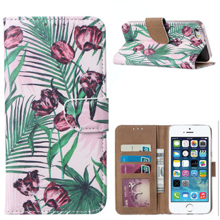 Botanische Rozen print lederen Bookcase hoesje voor de Apple iPhone SE