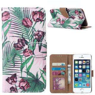Botanische Rozen print lederen Bookcase hoesje voor de Apple iPhone 8