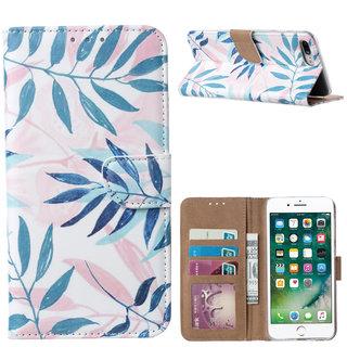 Botanische Planten print lederen Bookcase hoesje voor de Apple iPhone 7 Plus