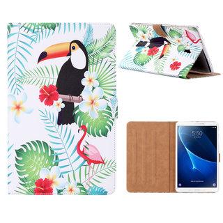 Toekan print lederen standaard hoes voor de Samsung Galaxy Tab A (10.5 inch) - Wit