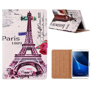 Parijs print lederen standaard hoes voor de Samsung Galaxy Tab A (10.5 inch) - Wit