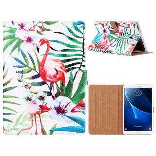 Flamingo print lederen standaard hoes voor de Samsung Galaxy Tab A (10.5 inch) - Wit
