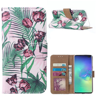 Botanische Rozen print lederen Bookcase hoesje voor de Samsung Galaxy S10E