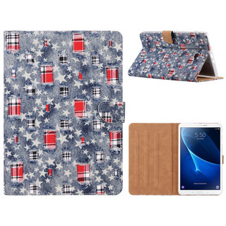 Spijkerbroek print lederen standaard hoes voor de Samsung Galaxy Tab A - 2016 (10.1 inch) - Blauw