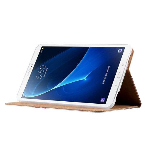 Buddha print lederen standaard hoes voor de Samsung Galaxy Tab A - 2016 (10.1 inch) - Wit