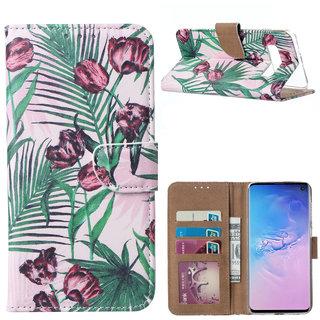 Botanische Rozen print lederen Bookcase hoesje voor de Samsung Galaxy S10 Plus