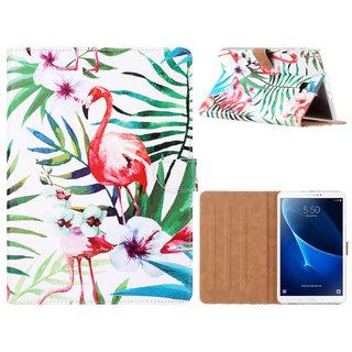 Flamingo print lederen standaard hoes voor de Samsung Galaxy Tab A - 2016 (10.1 inch)  - Wit