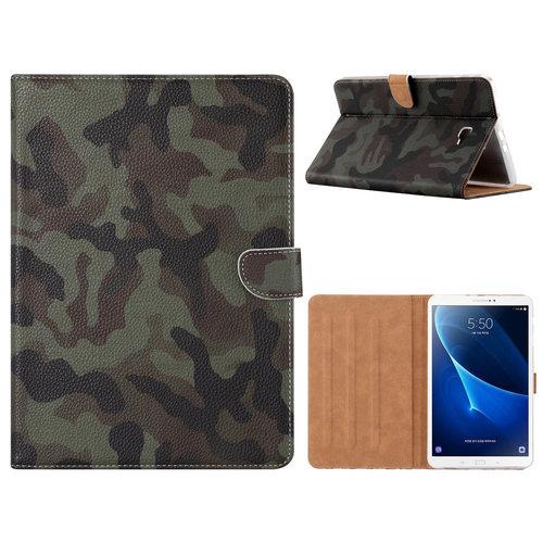 Leger Camouflage print lederen standaard hoes voor de Samsung Galaxy Tab A - 2016 (10.1 inch)