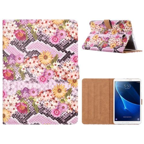 Slangen en Bloemen print lederen standaard hoes voor de Samsung Galaxy Tab A - 2016 (10.1 inch) - alle kleuren