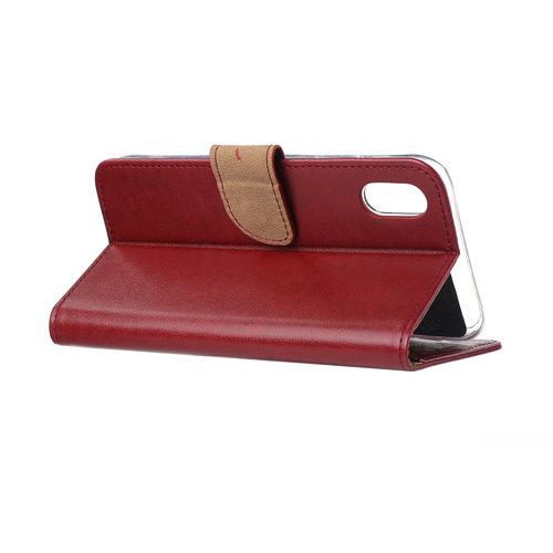 Bookcase Apple iPhone XR hoesje - Bordeauxrood