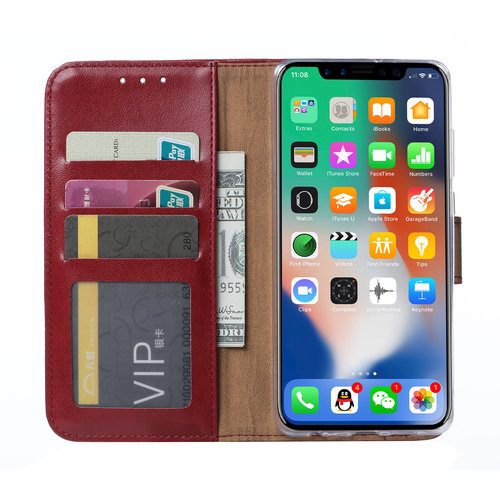 Bookcase Apple iPhone XS Max hoesje - Bordeauxrood