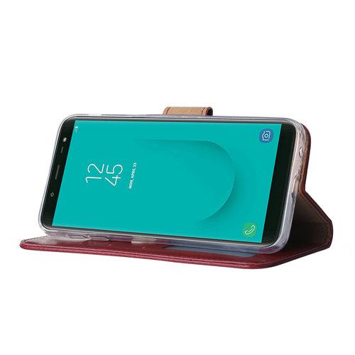 Bookcase Samsung Galaxy J6 2018 hoesje - Bordeauxrood