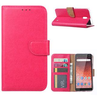 Bookcase Nokia 1 Plus hoesje - Roze