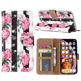 Gestreepte Rozen print lederen Bookcase hoesje voor de Apple iPhone XR