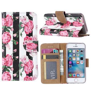 Gestreepte Rozen print lederen Bookcase hoesje voor de Apple iPhone 5G / 5S en SE