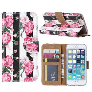 Gestreepte Rozen print lederen Bookcase hoesje voor de Apple iPhone 7