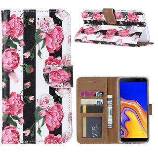 Gestreepte Rozen print lederen Bookcase hoesje voor de Samsung Galaxy J4 Plus 2018