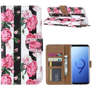 Gestreepte Rozen print lederen Bookcase hoesje voor de Samsung Galaxy S9 Plus