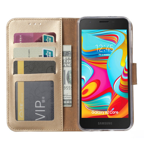 Bookcase Samsung Galaxy A2 Core hoesje - Goud