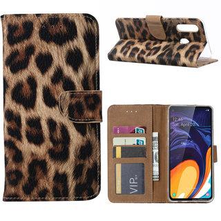 Panter print lederen Bookcase hoesje voor de Samsung Galaxy A60