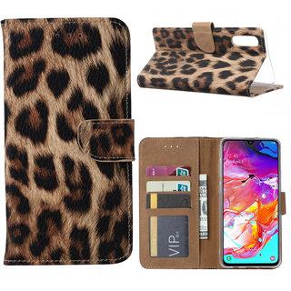 Panter print lederen Bookcase hoesje voor de Samsung Galaxy A70