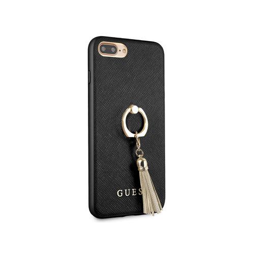 Guess Originele Saffiano Ring Back Cover Hoesje voor de Apple iPhone 7 Plus / 8 Plus - Zwart