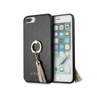 Originele Saffiano Ring Back Cover Hoesje voor de Apple iPhone 7 Plus / 8 Plus - Zwart