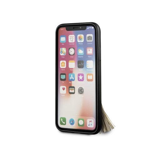 Guess Originele Saffiano Ring Back Cover Hoesje voor de Apple iPhone X / XS - Zwart