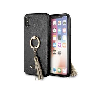 Originele Saffiano Ring Back Cover Hoesje voor de Apple iPhone X / XS - Zwart