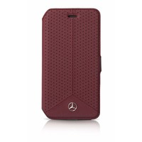 Mercedes-Benz Originele Perforated Echt Lederen Bookcase voor de Apple iPhone 6 / 6S - Bordeauxrood