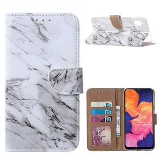 Marmer print lederen Bookcase hoesje voor de Samsung Galaxy A10 - Wit
