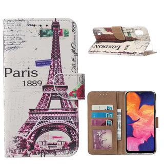 Parijs print lederen Bookcase hoesje voor de Samsung Galaxy A10