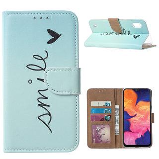 Smile print lederen Bookcase hoesje voor de Samsung Galaxy A10 - Mintgroen