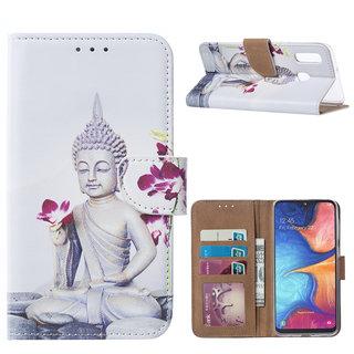 Buddha print lederen Bookcase hoesje voor de Samsung Galaxy A20e - Wit