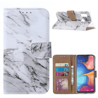 Marmer print lederen Bookcase hoesje voor de Samsung Galaxy A20e - Wit