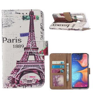 Parijs print lederen Bookcase hoesje voor de Samsung Galaxy A20e