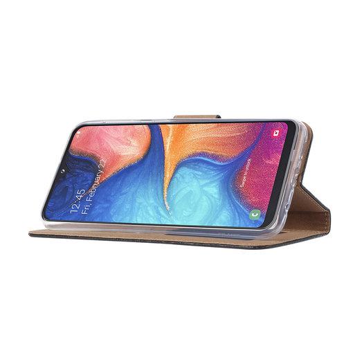 Don't Touch My Phone print lederen Bookcase hoesje voor de Samsung Galaxy A20e - Zwart
