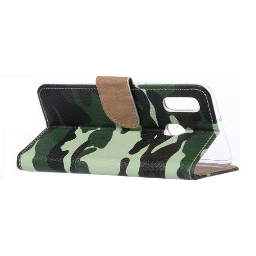 Leger Camouflage print lederen Bookcase hoesje voor de Samsung Galaxy A20e