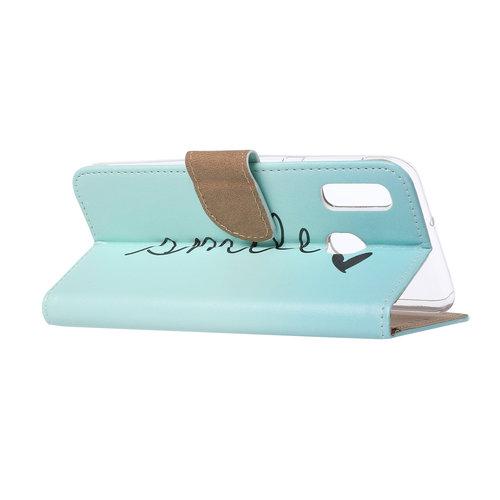 Smile print lederen Bookcase hoesje voor de Samsung Galaxy A20e - Mintgroen