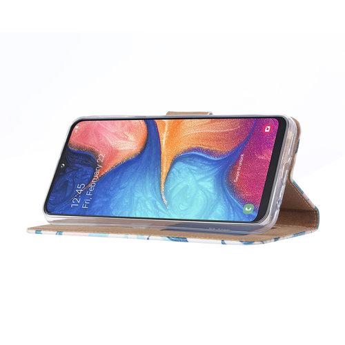Botanische Planten print lederen Bookcase hoesje voor de Samsung Galaxy A20e
