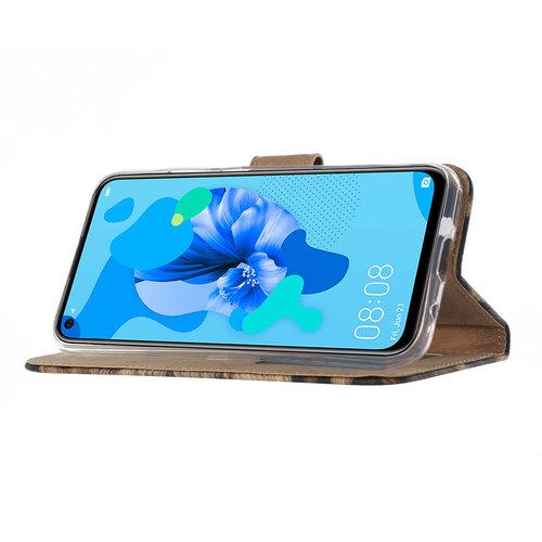 Panter print lederen Bookcase hoesje voor de Huawei P20 Lite (2019)