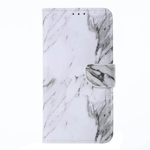 Marmer print lederen Bookcase hoesje voor de Huawei P20 Lite (2019) - Wit